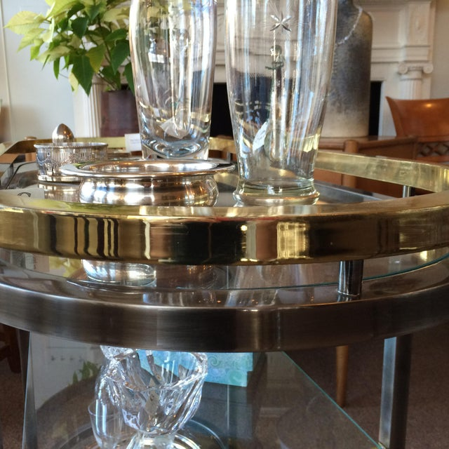 Mid-Century Modern Chrome & Brass Bar Cart - Image 5 of 5