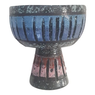 Mid Century Italian Bitossi Pedestal Bowl Pottery