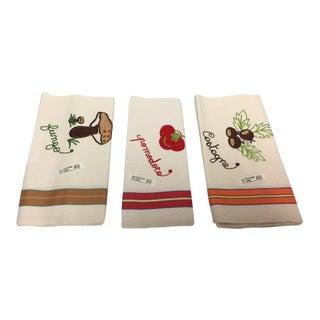 Vintage Italian Linen Kitchen Towels - Set of 3
