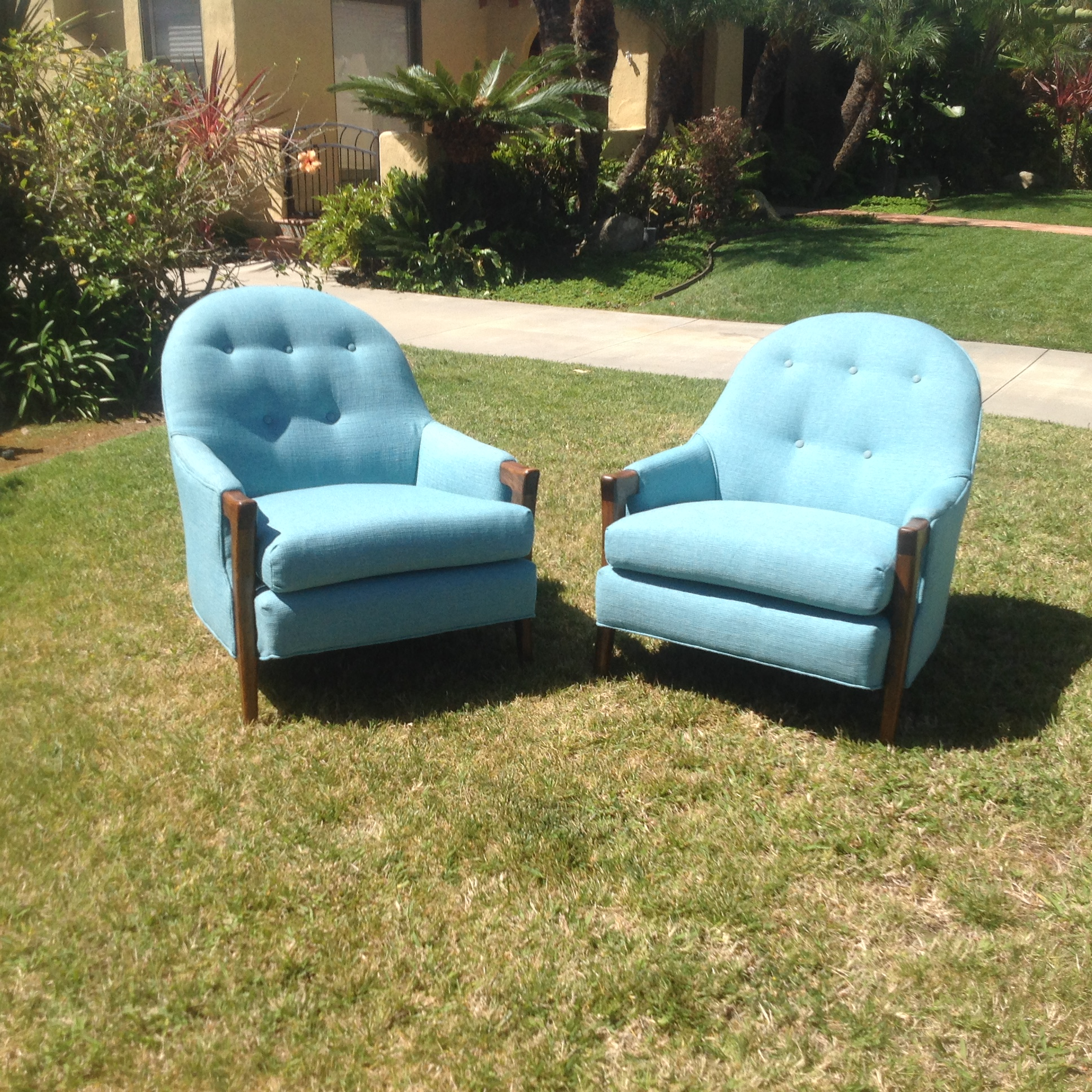 Mid Century Modern Baby Blue Lounge Chairs   Pair   Image 3 Of 10