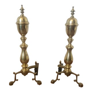Brass Andirons with Paw Feet - A Pair