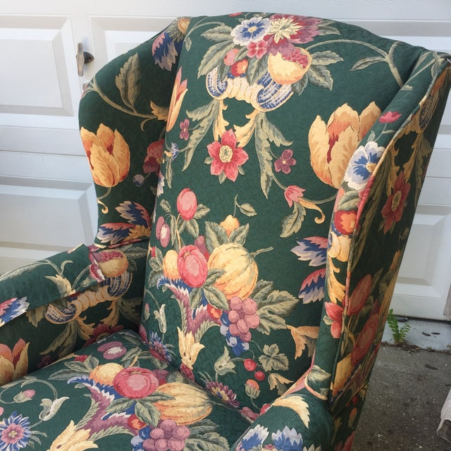 Green & Blue Floral Upholstered Wingback Flare Chairs- A Pair - Image 4 of 7