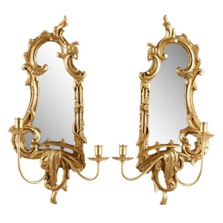 Chinese Chippendale Giltwood Wall Sconces - A Pair
