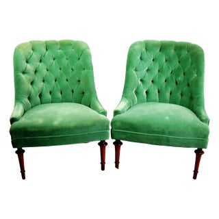 Tufted Velvet Slipper Chairs - A Pair
