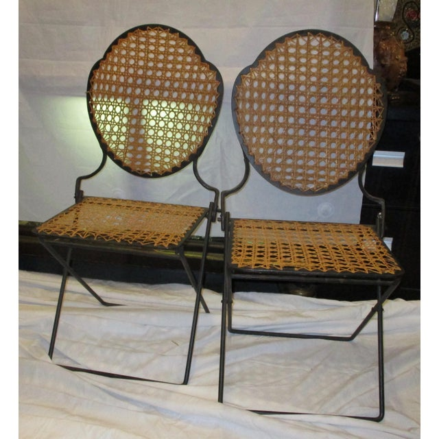 French Iron Beach Chairs With Cane Seats - A Pair - Image 11 of 11