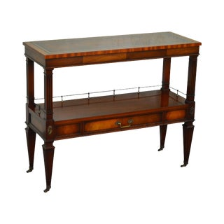 Circa 1950s Regency Style Narrow Leather Top Mahogany Console Table