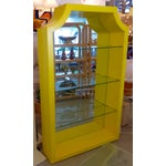 Image of Mirrored Etagere Cabinet Glass Shelves Yellow