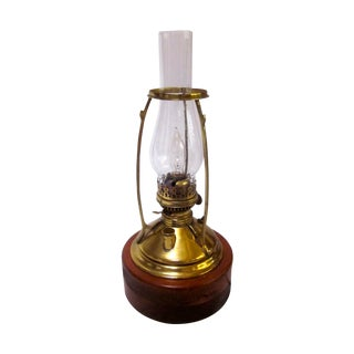 Antique Wired Brass Wood Hurricane Lamp
