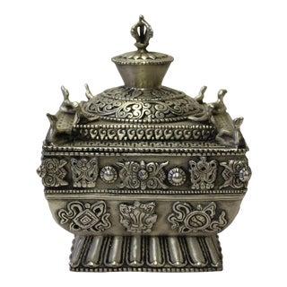 Chinese Tibetan Silver Color Square Shape Incense Burner Display
