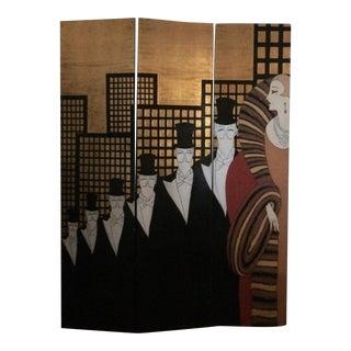 Erte Style Art Deco Gold Leaf 3 Panel Screen Art