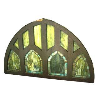 Peaked Green Slag Glass Gothic Transom