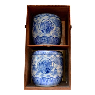 Japanese Blue & White Ceramic Planters in Wood Box - A Pair