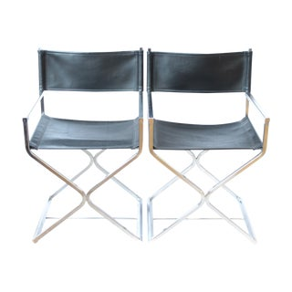 Chrome & Black Leather Directors Chairs - A Pair