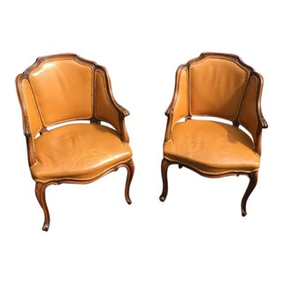 French Provincial Style Cognac Leather Bergere Armchairs - a Pair