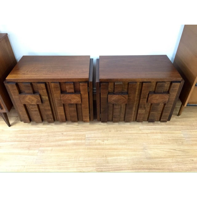 Brutalist End Tables by Lane - Pair - Image 3 of 6