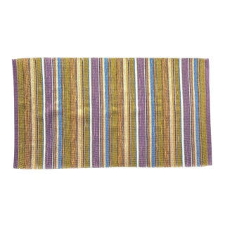 Swedish Handwoven Lilac & Green Rug - 4′3″ × 7′4″