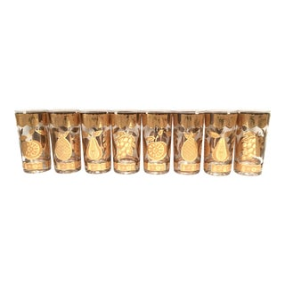 Mid-Century Culver 22k Gold Fruit Tumblers - Set of 8