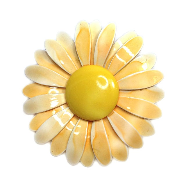 Image of Enameled Yellow Daisy Brooch