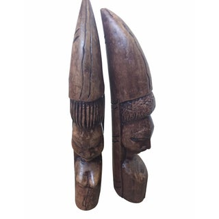 Yoruba Wooden Hand Carved Figures - A Pair