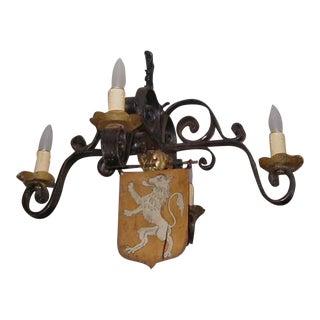 Antique Wrought Iron Gothic Lion Crest Chandelier
