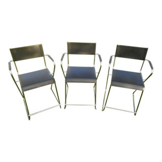 Black Leather and Chrome Bar Chairs - Set of 3