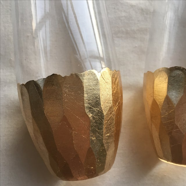 Gold Leaf Base Champagne Flutes - A Pair - Image 4 of 7
