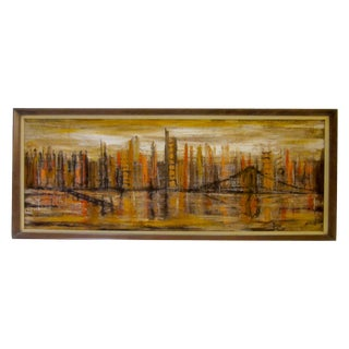 Abstract Modern Cityscape Signed Painting