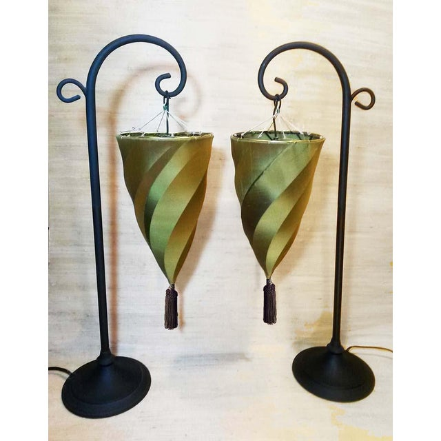 Hanging Table Lamp: Contemporary Silk Cesendello Spiral Hanging Light Table