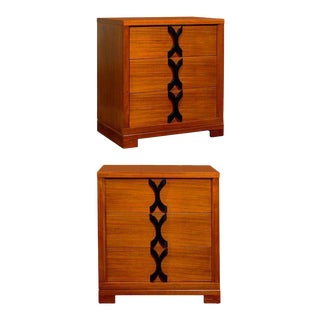 Exquisite Restored Pair of Chests in Ribbon Mahogany