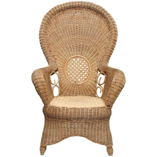 Large French Provincial Vintage Rattan Armchair