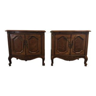 Vintage Carved Wood French Provincial Style Nightstands - a Pair