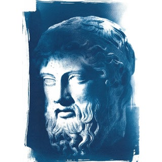 Roman man with bear, Bust Sculpture cyanotype print on watercolor paper