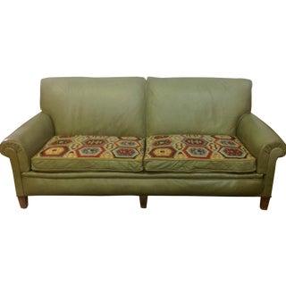 1940s Green Leather & Textile Sofa