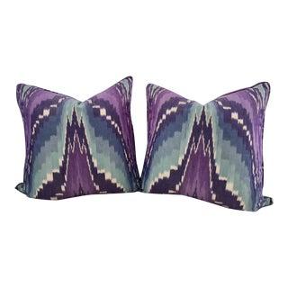 Purple & Blue Ikat Pillows - A Pair
