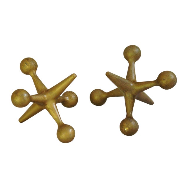 Mid-Century Large Cast Iron Gold Jacks - A Pair - Image 1 of 9