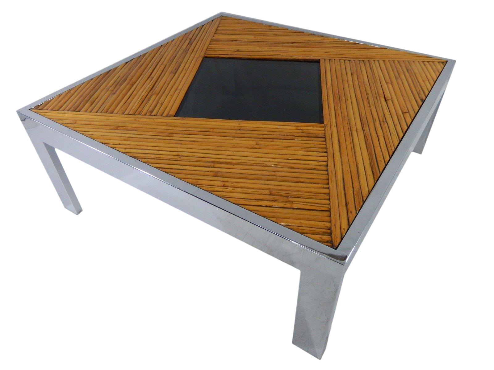 Marvelous Mid Century Milo Baughman Bamboo U0026 Chrome Coffee Table