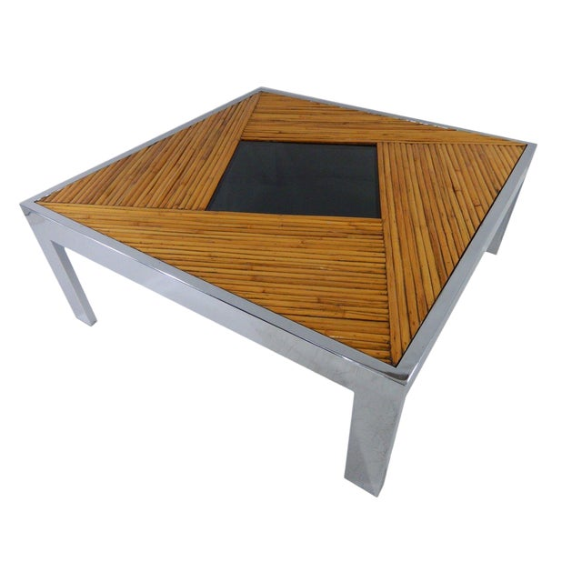 Mid Century Milo Baughman Bamboo Chrome Coffee Table Chairish