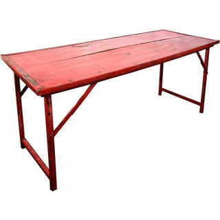 Red Vintage Wood and Steel Frame Folding Table
