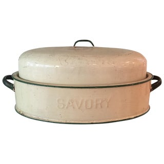 Vintage Savory Enamel Roasting Pan With Lid