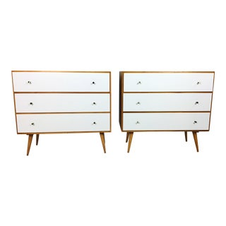 Pair of Paul McCobb Style Dressers with Painted Drawers