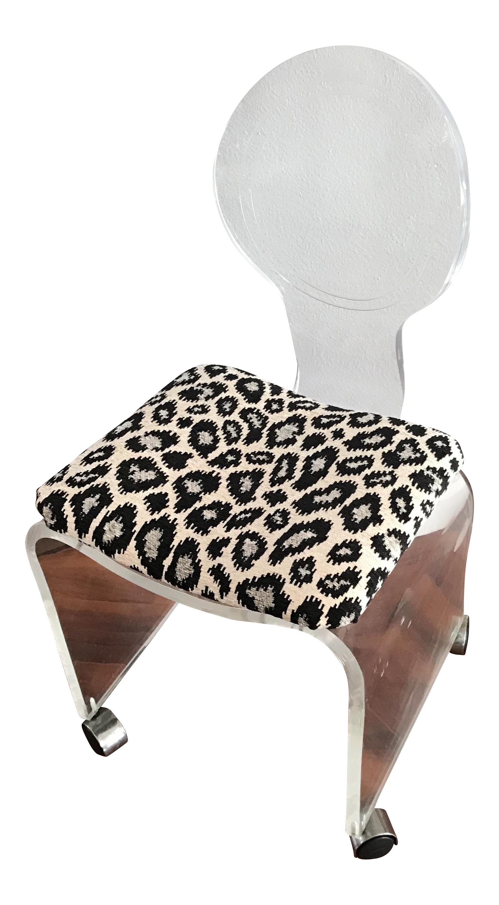 Lucite Hollis Jones Style Chenille Animal Print Rolling Vanity Chair