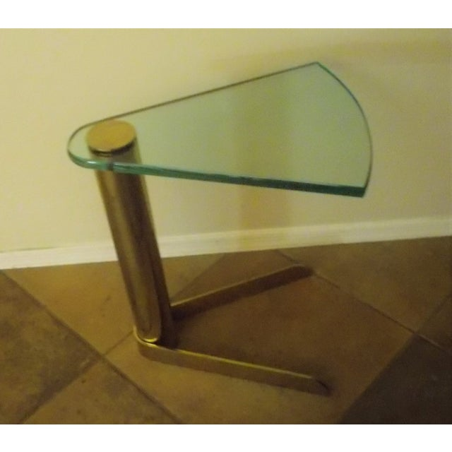 Pace Triangular Brass & Glass Side Table - Image 2 of 4