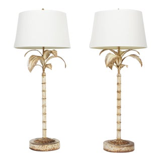 Pair of Naturally Oxidized Tall Tole Palm Tree Lamps