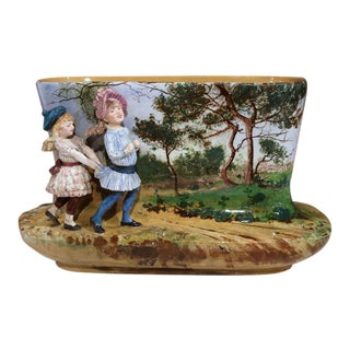 19th Century French Hand-Painted Barbotine Vase with Two Little Girl