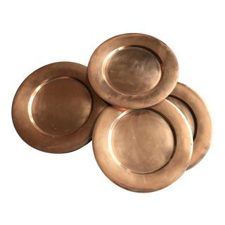 Vintage Copper Finish Charger Plates - Set of 12