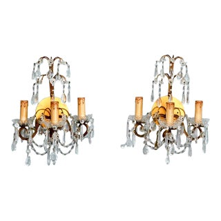 Pair of French Three-Arm Crystal and Brass Wall Sconces
