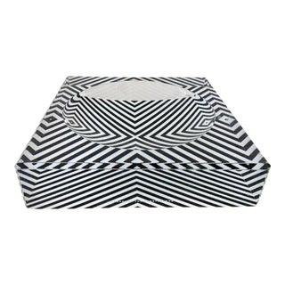 "Alexandra Von Furstenberg Contemporary Lucite ""Zebra"" Square & Round Bowl"