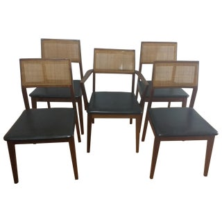 Hibriten Walnut Cane Back Dining Chairs - Set of 5