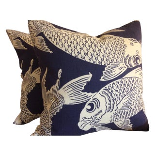 "Manuel Canovas ""Calypso"" Navy Pillows - A Pair"