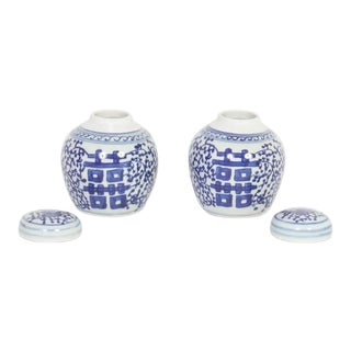 Pair of Chinese Export Style Blue and White Double Happy Jars